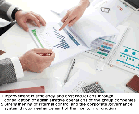Improvement in efficiency and cost reductions through consolidation of administrative operations of the group companies Strengthening of internal control and the corporate governance system through enhancement of the monitoring function